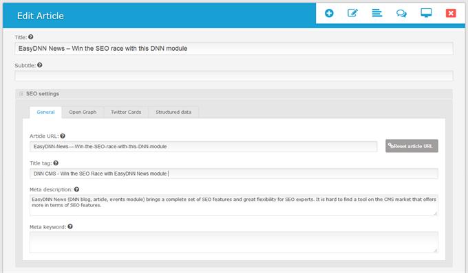 Meta data in EasyDNN News module